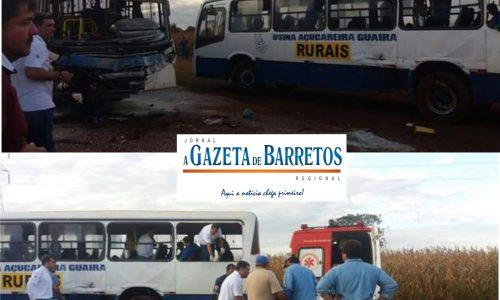 ACIDENTE ENTRE DOIS ÔNIBUS DA USINA GUAÍRA DEIXA VÁRIOS FERIDOS