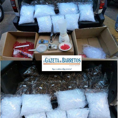 Operação da Força Tática prende três e aprende maconha, carro, revólver, 22 mil pinos e evita roubo a residência de comerciantes de joias