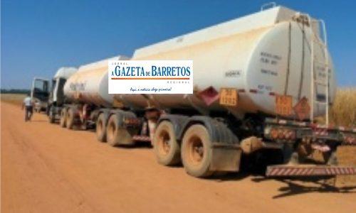 Caminhão tanque é encontrado em canavial