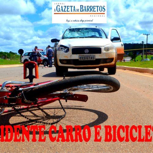 Acidente entre carro e bicicleta ano bairro América