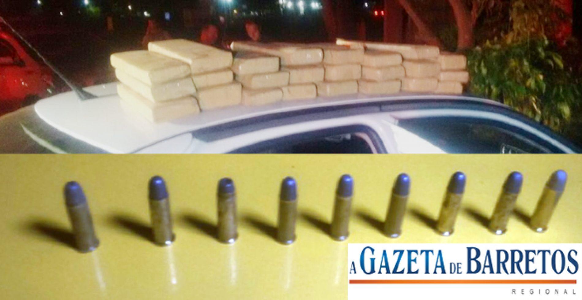 Após perseguição em rodovia, homens são presos com mais de 26 quilos de maconha, dinheiro e munições