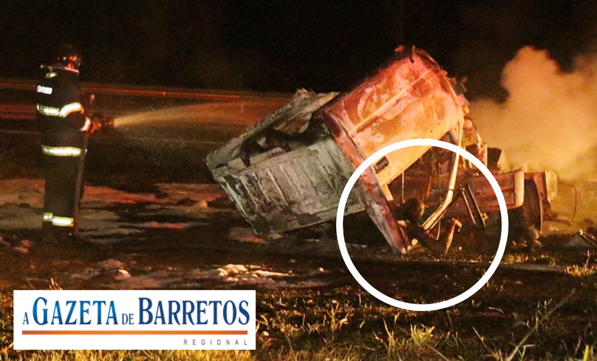 EXPLOSÃO: Caminhoneiro morre carbonizado na SP-225 em Analândia