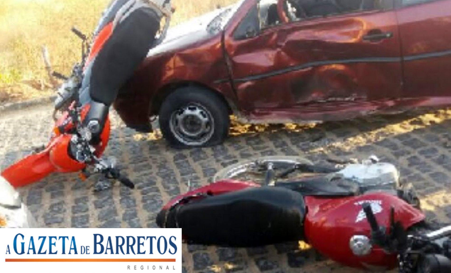 Acidente entre carro e duas motos no bairro Nogueira