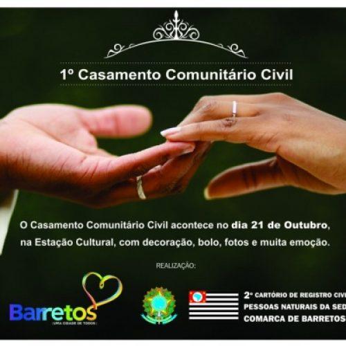 HOJE: Casamento Civil Comunitário oficializando a união de 47 casais