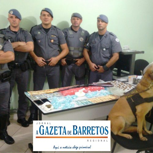 BARRETOS: Operação com as equipes da ROCAM, Força Tática e Canil, prende dois e apreende drogas, dinheiro, arma, Rádio HT e celulares