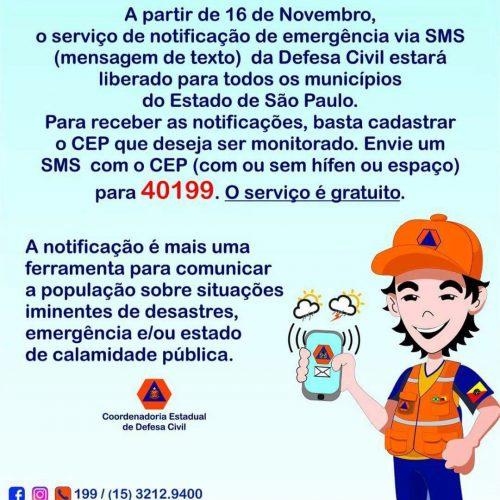 SP: DEFESA CIVIL DO ESTADO DE SÃO PAULO ALERTARÁ POPULAÇÃO SOBRE DESASTRES NATURAIS PELO CELULAR VIA SMS