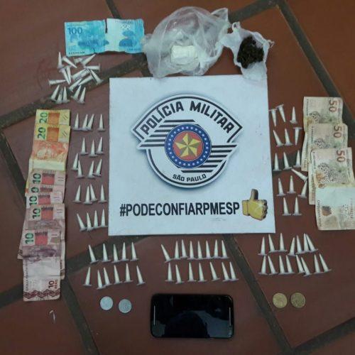 BARRETOS: Policia apreende moto furtada e drogas