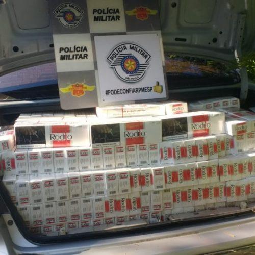 REGIÃO: Polícia apreende carro lotado com cigarros do Paraguai