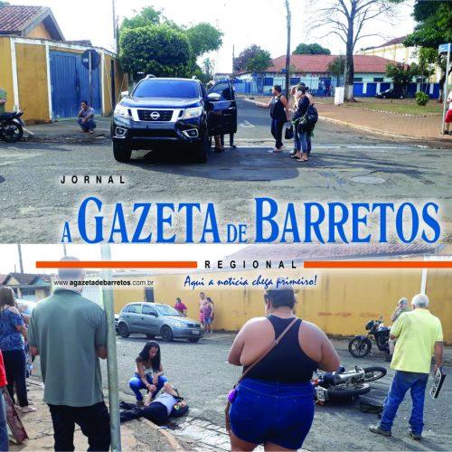 BARRETOS: Acidente com caminhonete deixa motociclista com fratura exposta