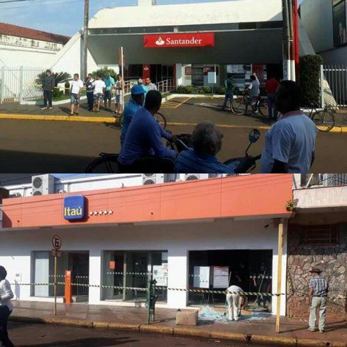 GUAÍRA: Quadrilha fortemente armada ataca duas agências bancárias.