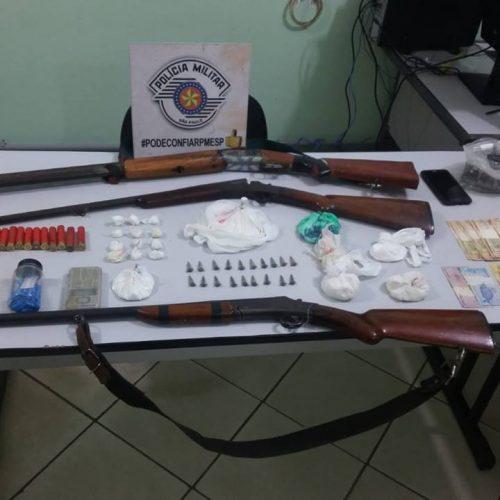 BARRETOS: Foragido da Justiça é preso por tráfico de drogas e outros dois são presos por porte ilegal de arma em fazenda