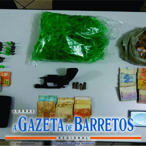 BARRETOS: Operação da PM prende homem por tráfico e apreende dinheiro, drogas, arma, munições e objetos relacionados a traficância