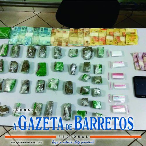BARRETOS: Força tática apreende quase dois quilos de drogas, dinheiro e vários objetos relacionados a traficância