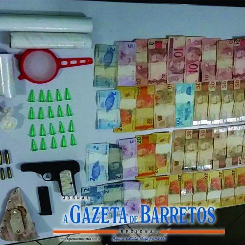 BARRETOS: Após PERSEGUIÇÃO,  homem é preso com drogas, dinheiro pistola,  munições e vários objetos relacionados ao  TRÁFICO