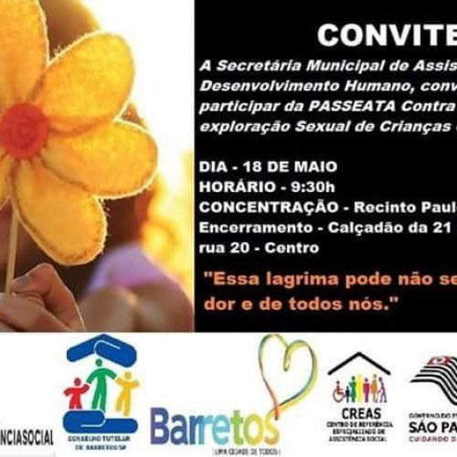 BARRETOS: Neste Sábado(18) acontece Passeata em apoio mobilização no combate à exploração sexual de crianças e adolescentes