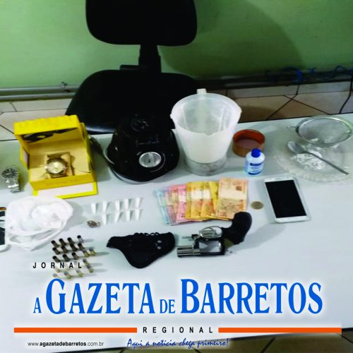 BARRETOS: Policia Militar prende dois, recupera arma furtada e apreende drogas e diversos objetos de origem suspeita
