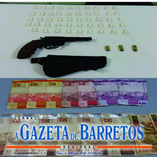 BARRETOS: Força Tática recupera revólver furtado em agência bancária e apreende dinheiro e drogas em residência de menor