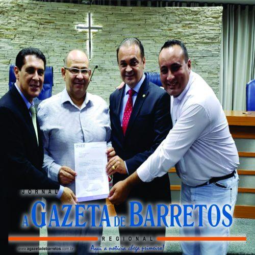 BARRETOS: Deputado Roberto de Lucena do PODEMOS, recebe titulo e destina recurso para o SAAE