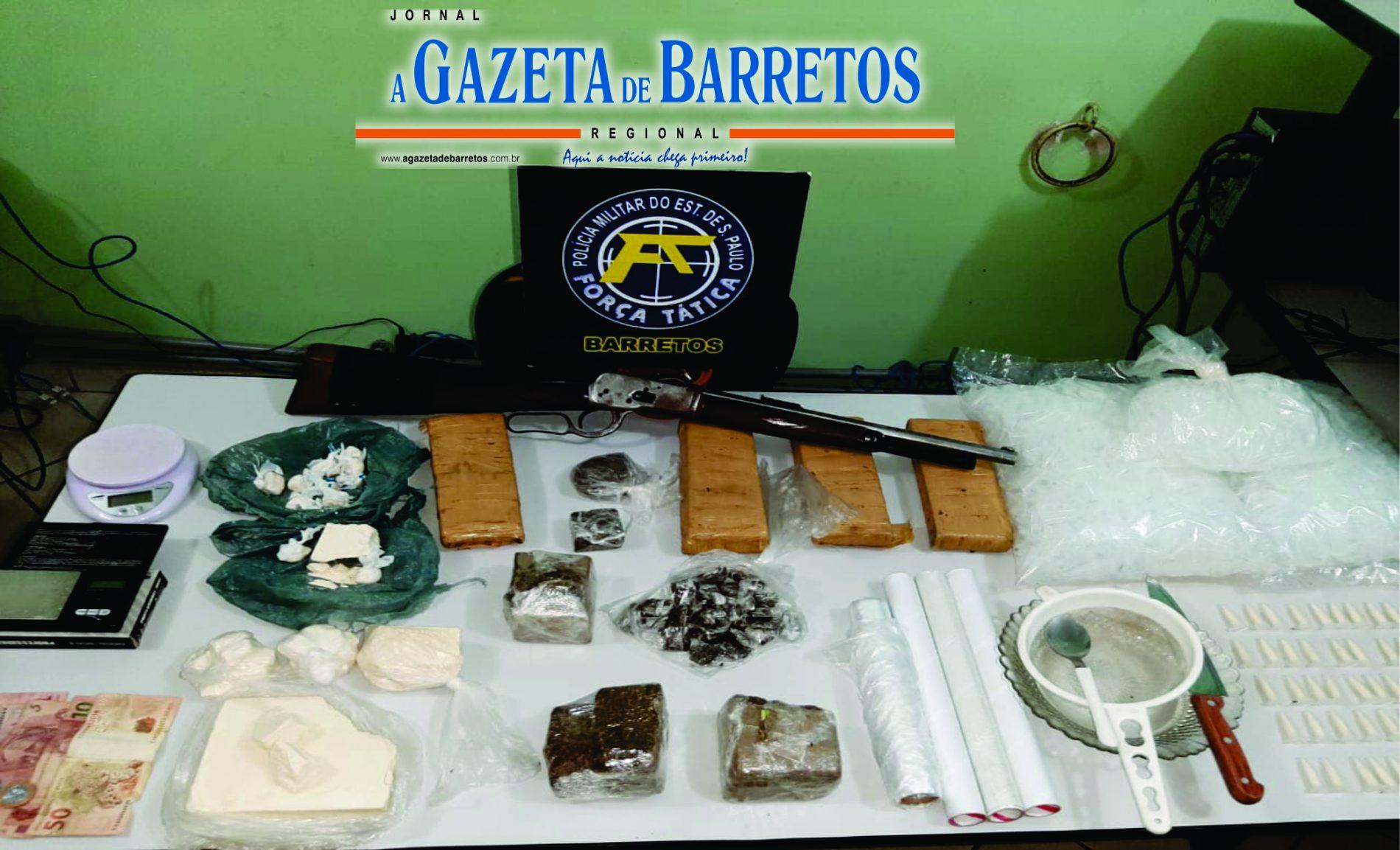 BARRETOS: VULGO MELOSO é preso com quase cinco quilos de drogas, arma e outros objetos em residência no Derby Clube