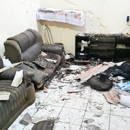 REGIÃO: Burro despenca em telhado de casa, cai dentro da sala e deixa criança ferida