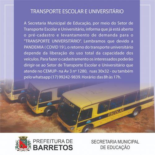 BARRETOS: Transporte universitário tem cadastramento em andamento